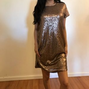 Dresses & Skirts - Bronze Sequin Shift Dress With Pockets